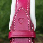 collier bouledogue anglais cuir rose et petit coeur