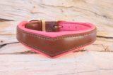 Coeur bombé marron rose corail