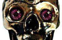 Tête de mort or aux yeux violets