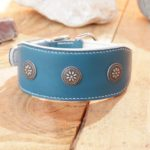 collier lévrier cuir turquoise doublé blanc fleur navajo n°12