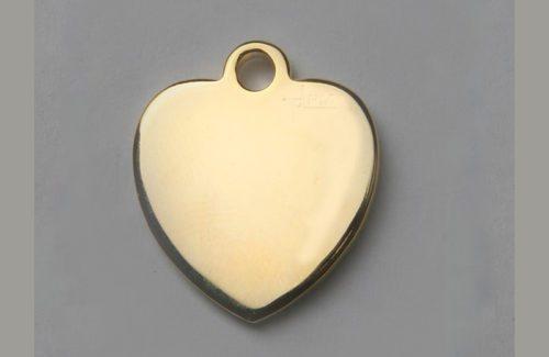 Médaille chien coeur doré