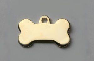 Médaille chien os doré