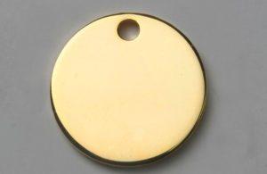 Médaille chien ronde dorée